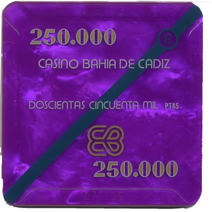 casino bahia de cadiz 250.000 ptas plaque 68x68mm anv