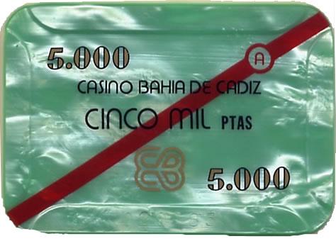 casino bahia de cadiz 5.000 ptas plaque 80x55mm anv