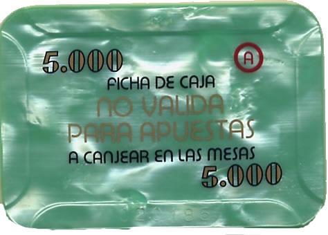 casino bahia de cadiz 5.000 ptas plaque 80x55mm rev