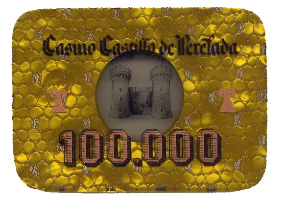 casino castillo de perelada Ptas 100000 placa anv 102x75 mm