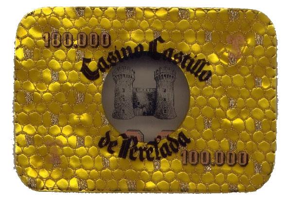 casino castillo de perelada Ptas 100000 placa rev 102x75 mm