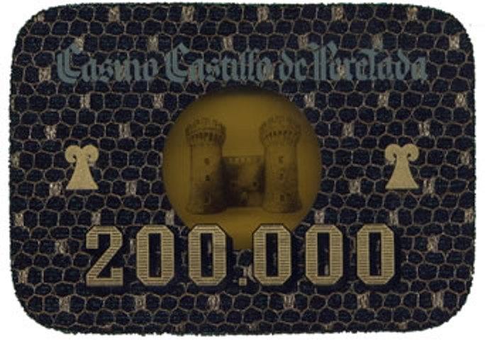 casino castillo de perelada Ptas 200000 placa anv 116x80 mm