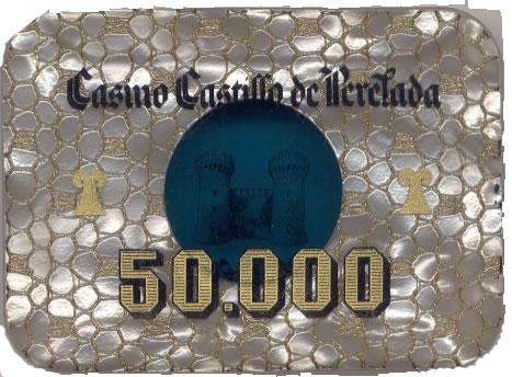 casino castillo de perelada Ptas 50000 placa anv 90x57 mm