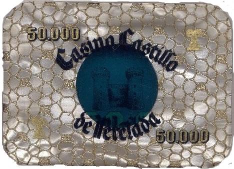 casino castillo de perelada Ptas 50000 placa rev 90x57 mm