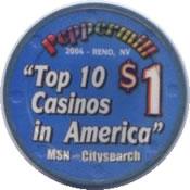 casino peppermill reno $1 chip 1 anv