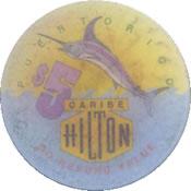 casino caribe hilton pr $ 5 chip 1