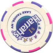 casino harrahs lake tahoe Nv $1 chip rev