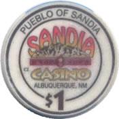 Casino Sandia albuquerque NM $1 chip anv