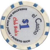 El Casino Club Bahia PR $1 chip rev