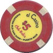 El Casino Club Bahia PR $5 chip rev