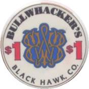 casino bullwhacker's black hawk CO $1 chip anv
