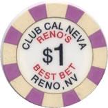 casino club cal neva RN $1 chip anv