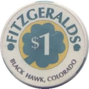 casino fitzgeralds blak hawk CO $1 chip anv
