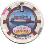 casino lakeside osceola IA $1 chip anv
