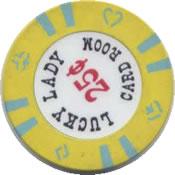 casino lucky lady card room San diego 25c chip rev