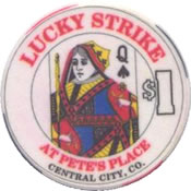 casino lucky strike $1 chip Q anv